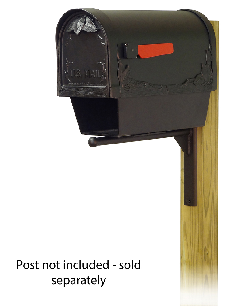 Ashley-Mailbox-Mounting-Bracket-with-Floral-Curbside-Mailbox with Newspaper Tube