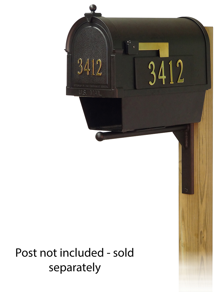 Ashley Mailbox Mounting Bracket and Berkshire Curbside Mailbox with Front and Side Address Numbers