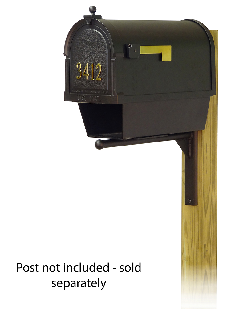 Ashley Mailbox Mounting Bracket and Berkshire Curbside Mailbox with Front Address Numbers