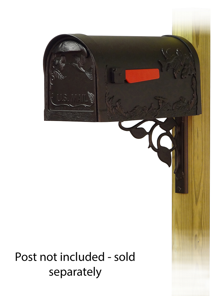 Floral Mailbox Mounting Bracket and Hummingbird Curbside Mailbox