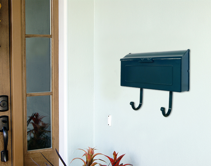 Blue Mid Century Modern Wall Mount Mailbox