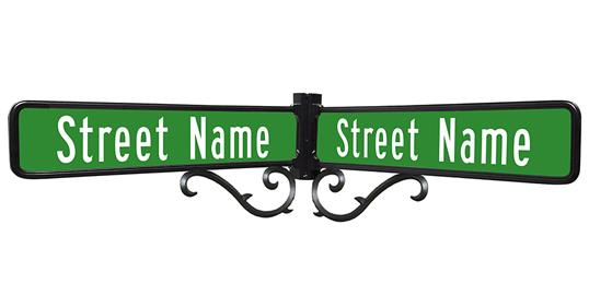 Decorative aluminum street name sign trim