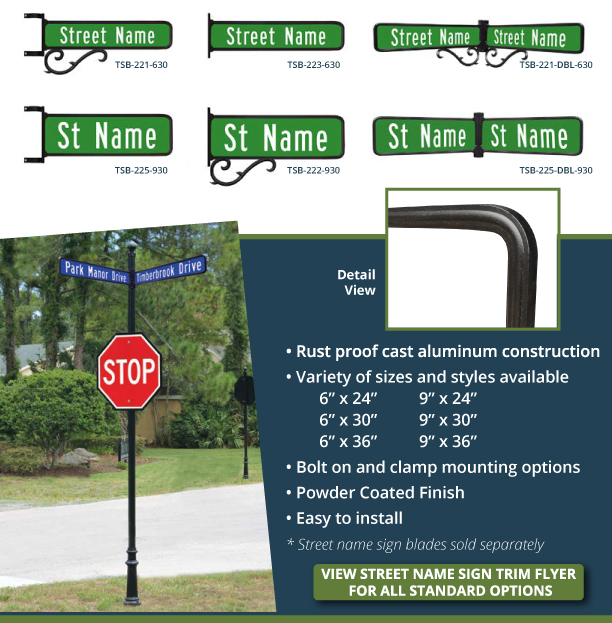 street name sign trims